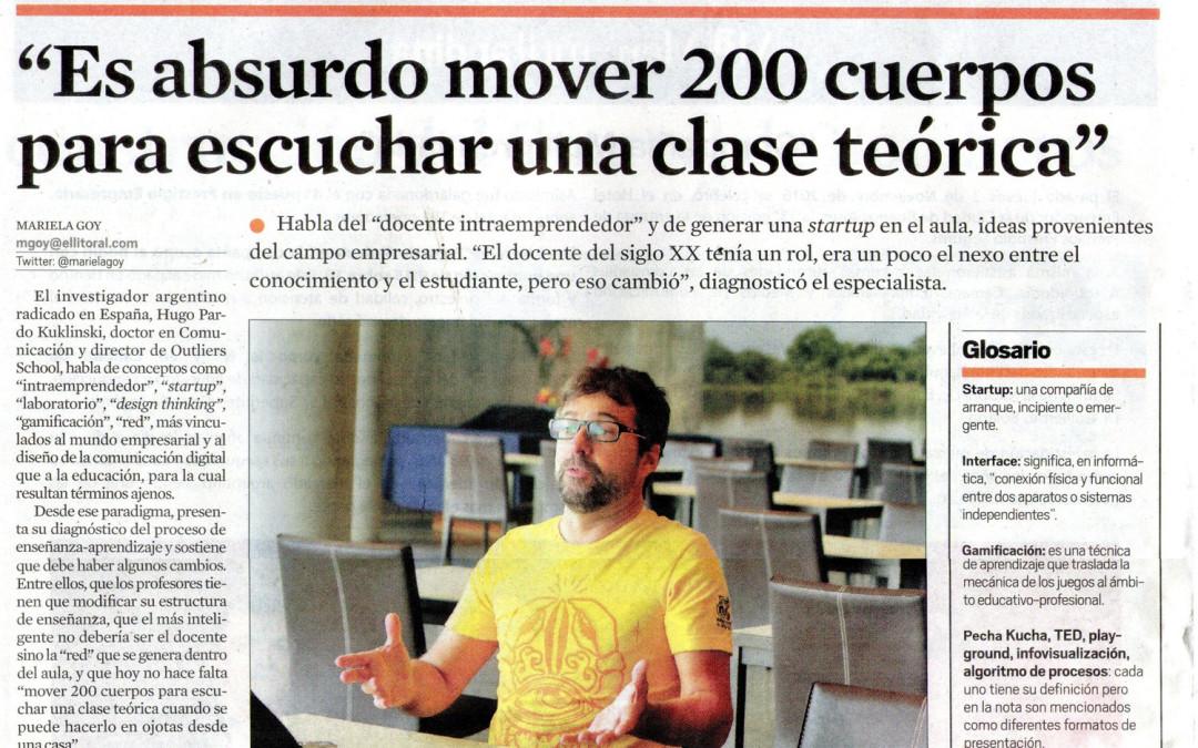 Entrevista en el diario El Litoral (Santa Fé), Argentina